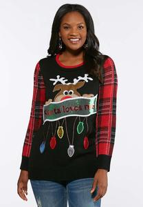Plus Size Sequin Reindeer Sweater