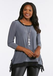 Chiffon Hem Sharkbite Top