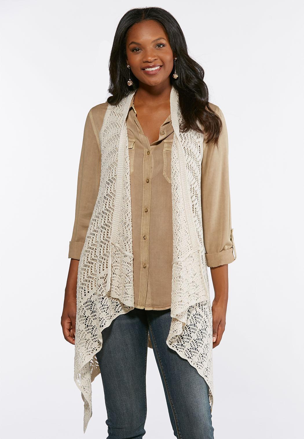 Plus Size Draped Waterfall Sweater Vest
