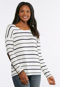 Plus Size Stripe Elbow Patch Top