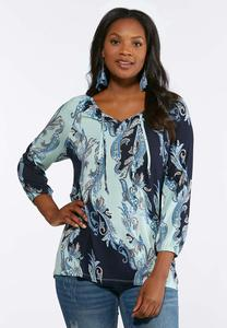Plus Size Waves Of Paisley Top