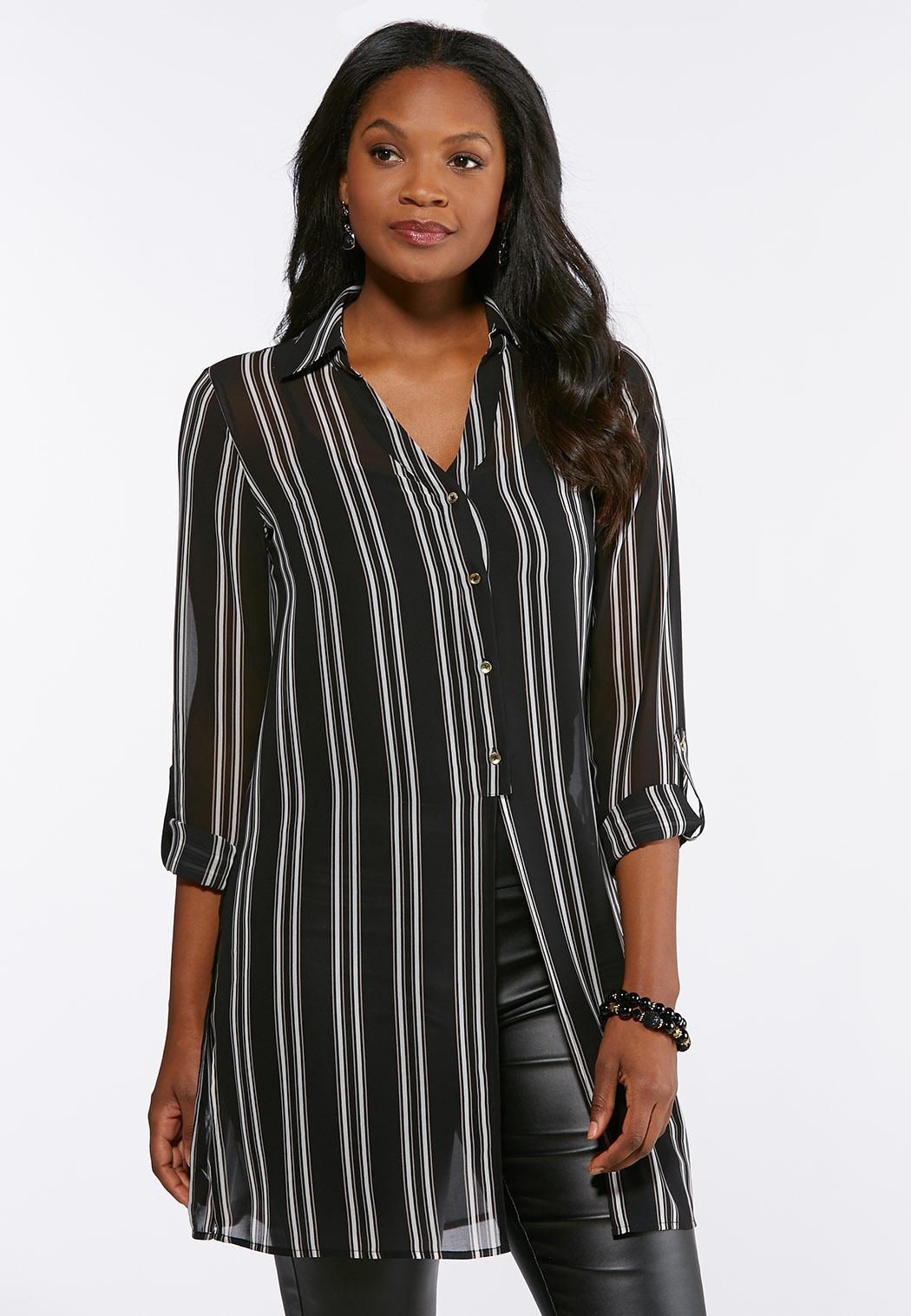 Plus Size Striped Sheer Split Tunic Shirts Blouses Cato Fashions