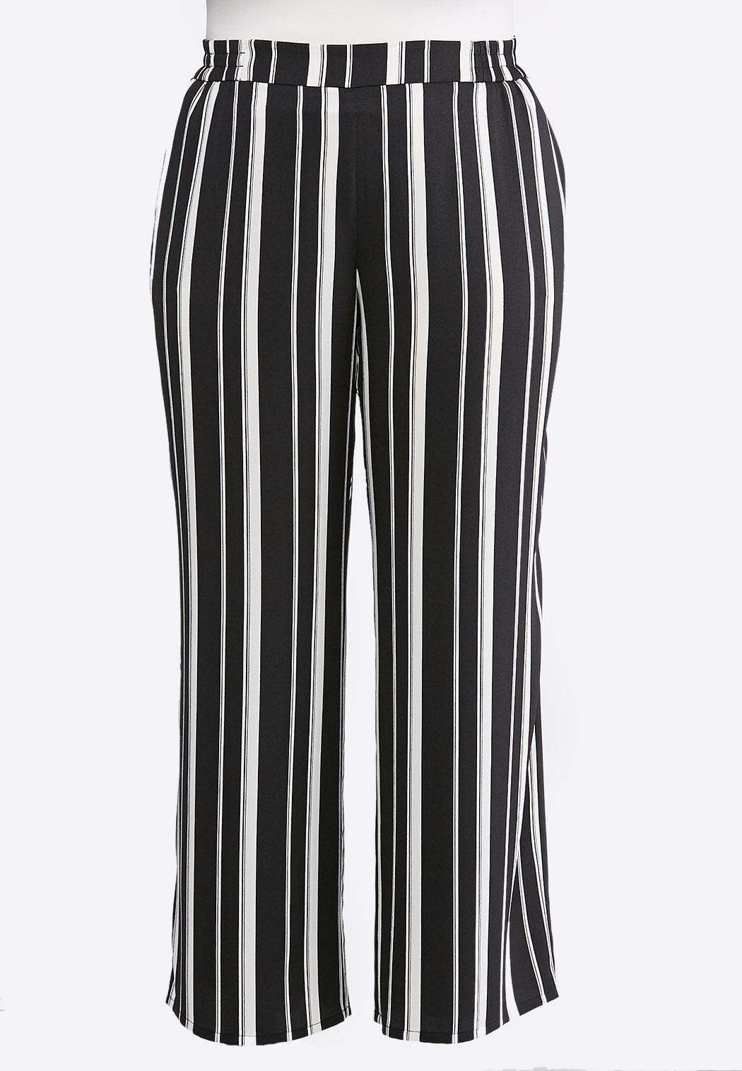 Plus Size Stripe Wide Leg Palazzo Pants