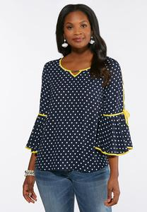 Plus Size Yellow and Navy Dotted Top