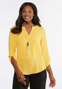 Plus Size High-Low Solid Popover Top