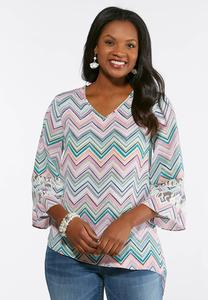 Chevron Lace Sleeve Top