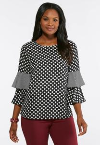 Plus Size Polka Dot Tiered Sleeve Top