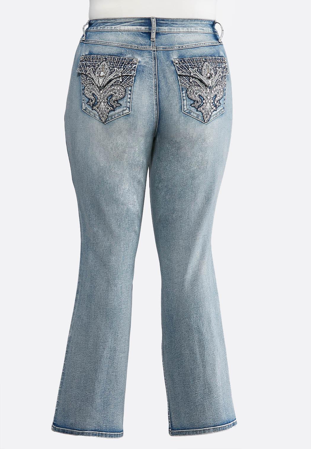 ca1f91cd743 Plus Size Fleur De Lis Pocket Jeans Bootcut Cato Fashions