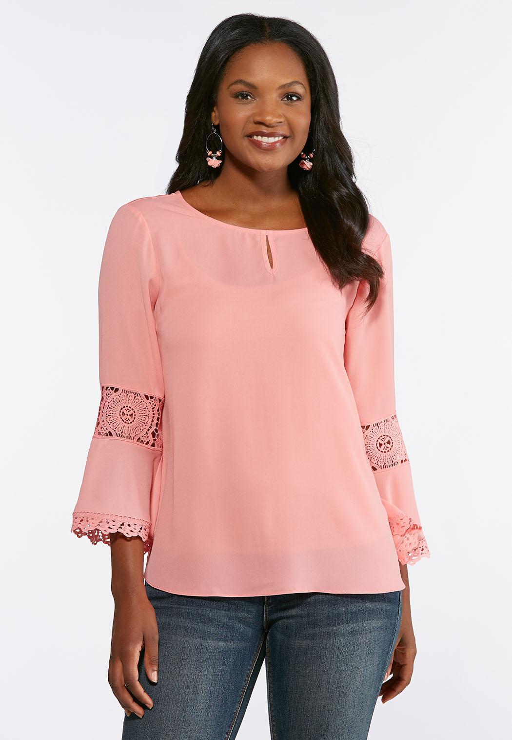 Plus Size Solid Lace Sleeve Top Tops Cato Fashions