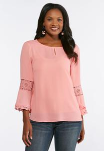 Plus Size Solid Lace Sleeve Top