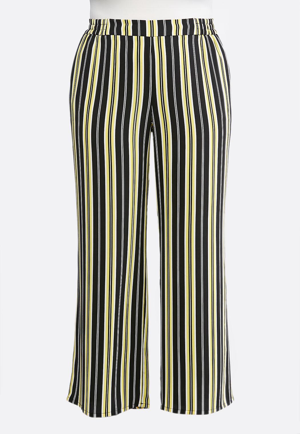 Plus Size Black And Yellow Stripe Pants