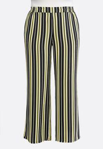 Plus Size Black And Gold Stripe Pants