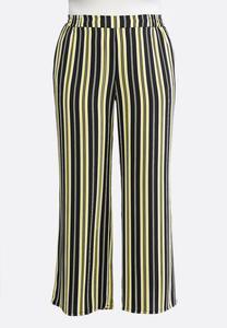 Plus Petite Black And Yellow Stripe Pants