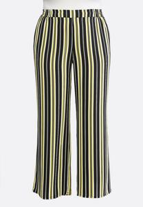 Plus Petite Black And Yellow Stripe Pants