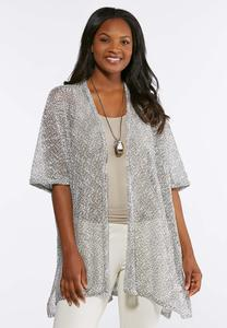 Metallic Thread Open Knit Kimono
