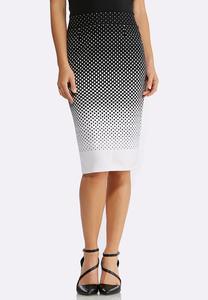 Gradient Dot Pencil Skirt