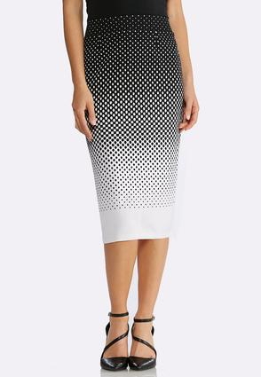 Plus Size Gradient Dot Pencil Skirt