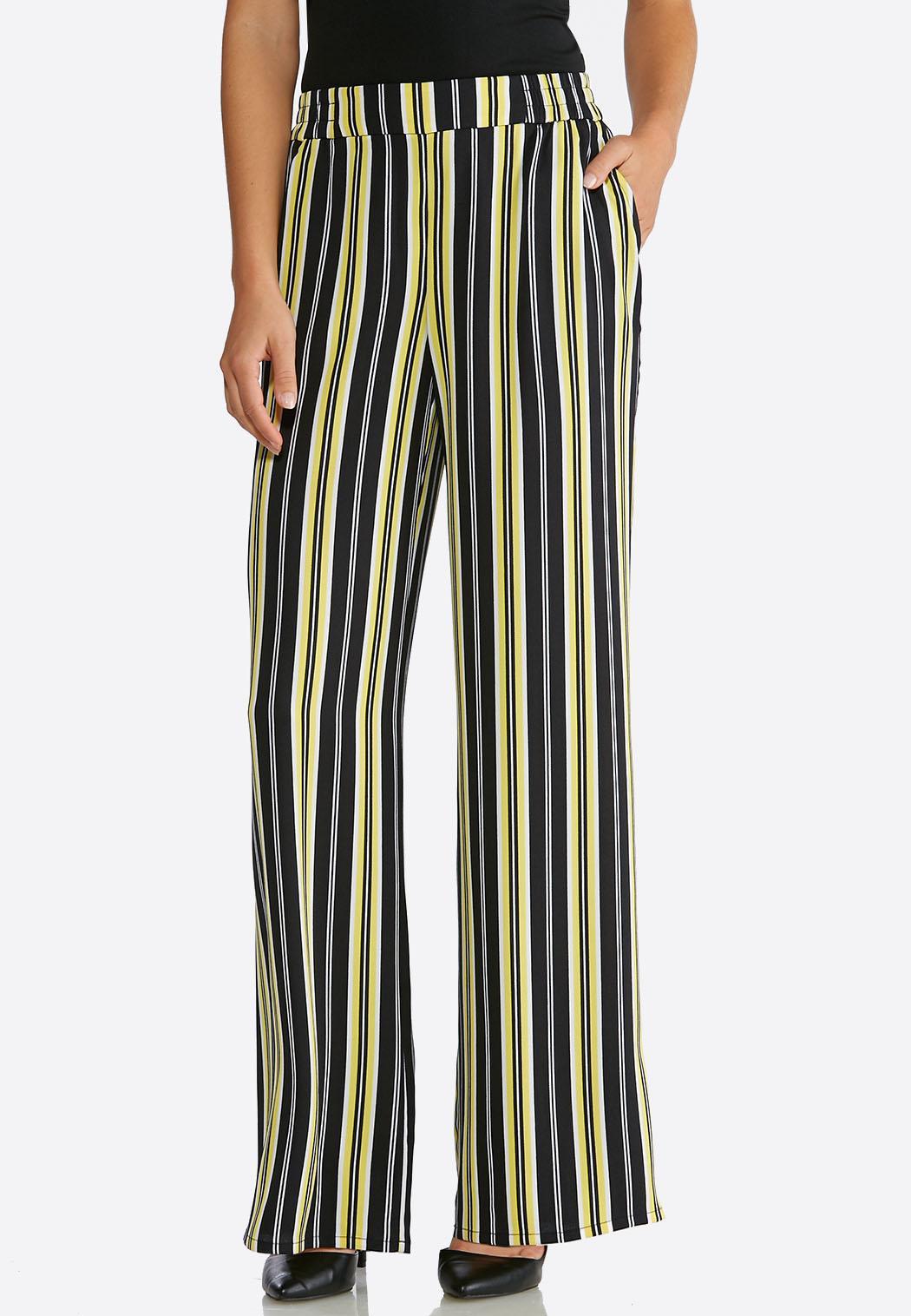 Petite Black And Yellow Stripe Pants