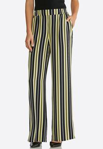 Petite Black And Yellow Stripe Pants