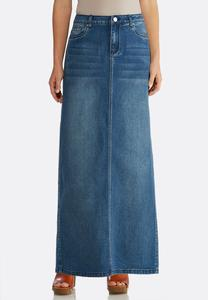 Plus Size Medium Wash Denim Maxi Skirt