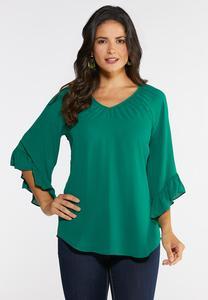 Plus Size Breezy Ruffled Sleeve Top