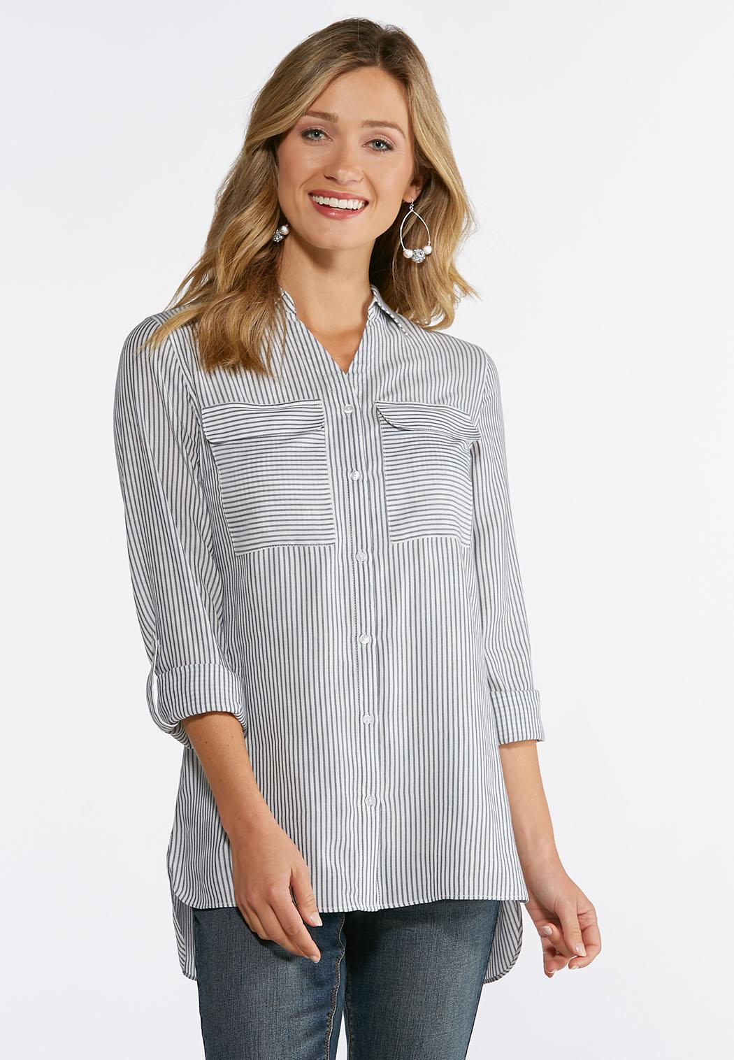 072b31b49b Plus Size Plaid Pocket Front Top Shirts   Blouses Cato Fashions