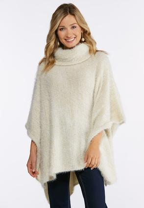 Fuzzy Metallic Thread Poncho