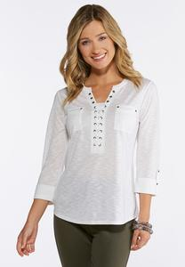 Lace Up Front Pocket Top