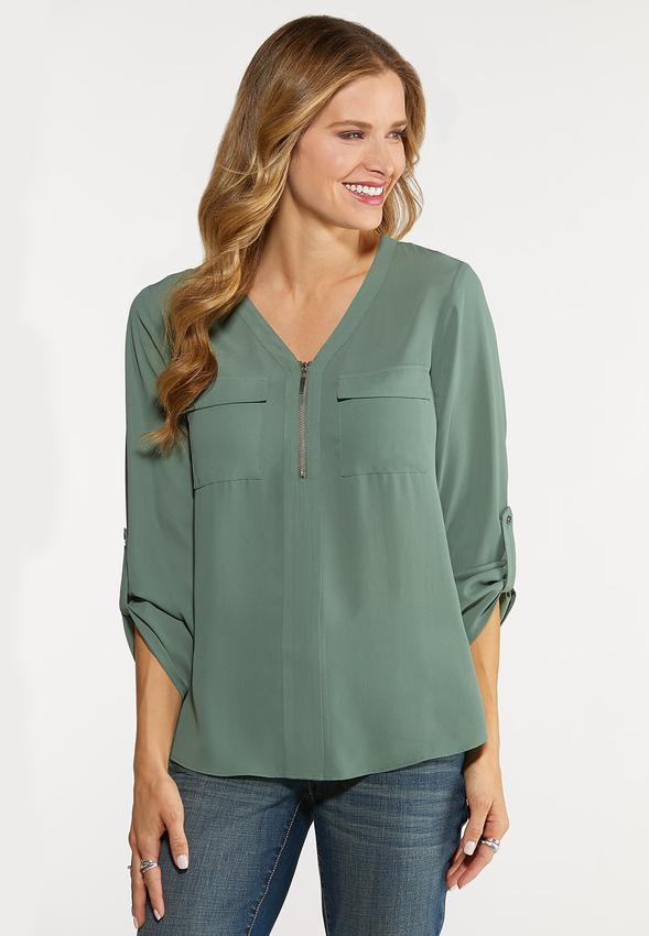 346f81d4a4c Plus Size Zip High-Low Equipment Blouse Shirts   Blouses Cato Fashions