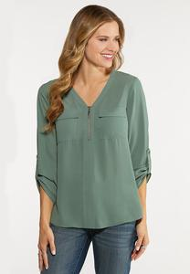 Plus Size Zip High-Low Equipment Blouse