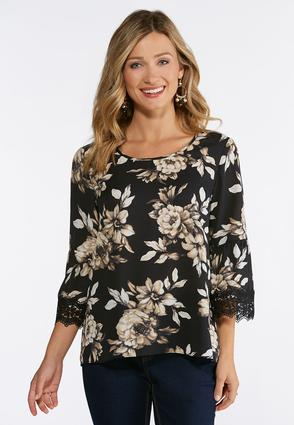 Ivory Floral Lace Sleeve Top