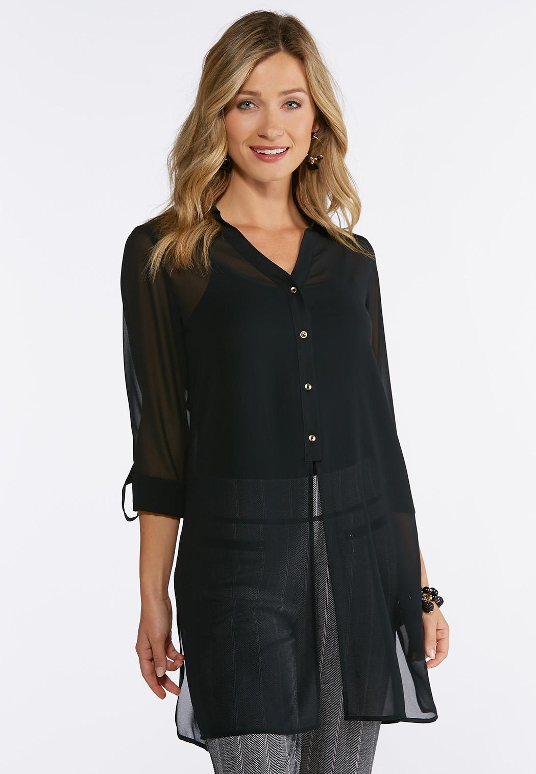 Plus Size Black Sheer Split Tunic Shirts Blouses Cato Fashions