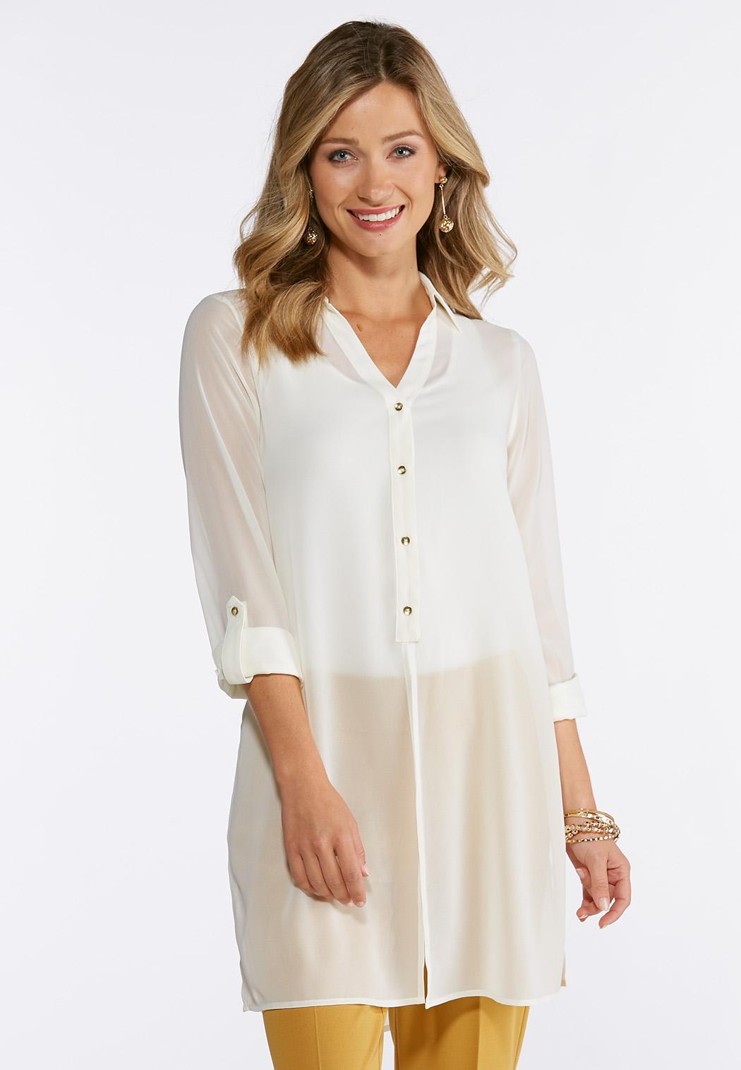 46afb81b4ce Plus Size Sheer Split Tunic Shirts   Blouses Cato Fashions