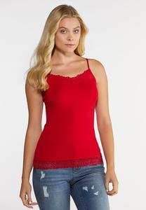 Plus Size Floral Lace Trim Camisole