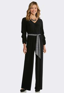 Plus Size Ruffled Tie Waist Jumpsuit