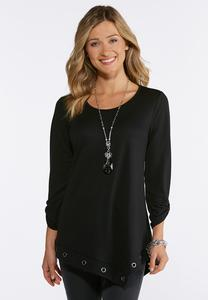 Plus Size Grommet Trim Top