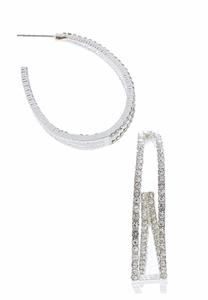 Double Hoop Rhinestone Earrings