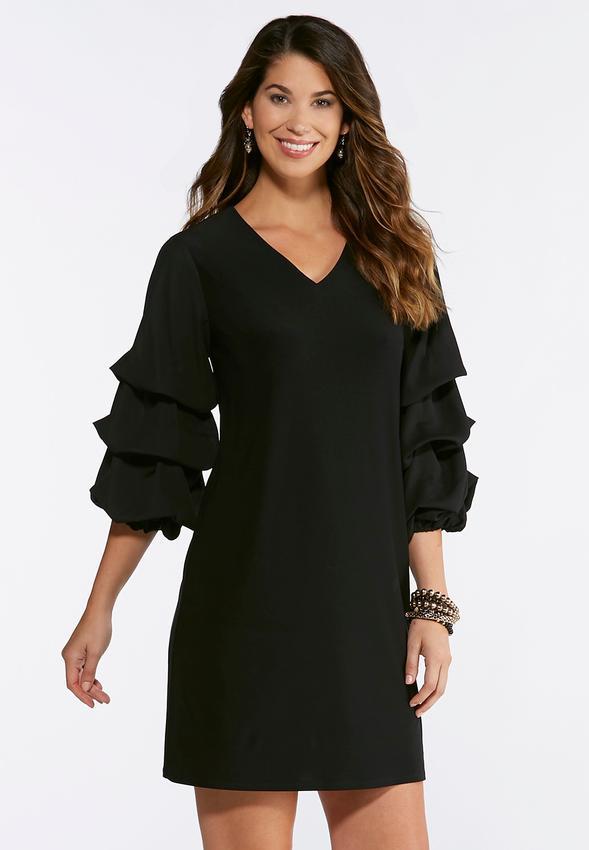 Plus Size Tiered Bubble Sleeve Shift Dress Plus Sizes Cato Fashions