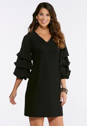 Plus Size Tiered Bubble Sleeve Shift Dress
