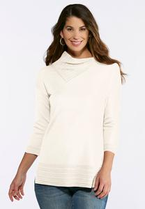 Plus Size Ivory Split Neck Tunic Sweater