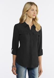 Plus Size Solid Button Down Woven Top