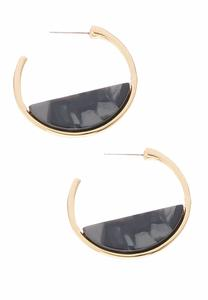 Marbleized Plate Hoop Earrings