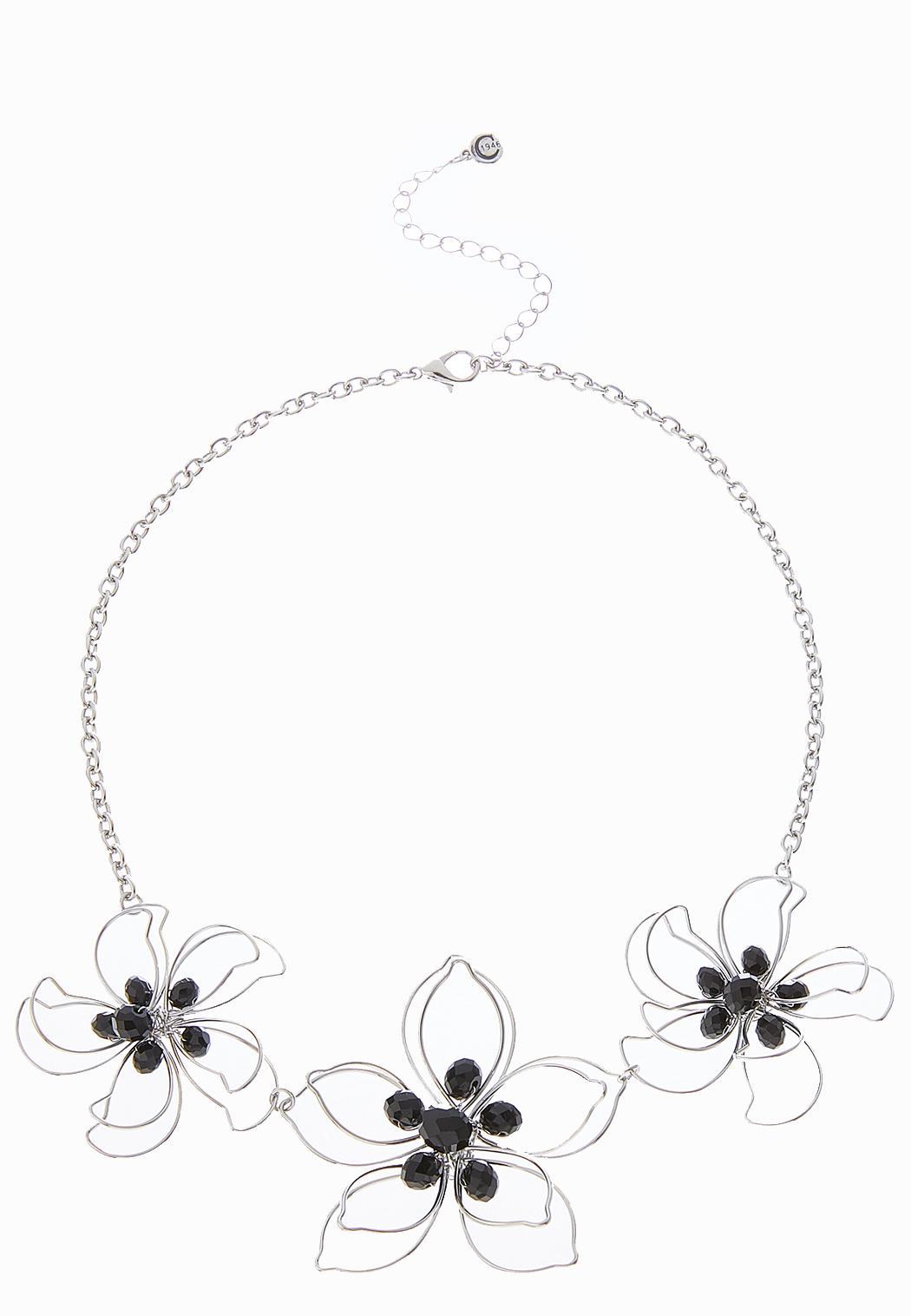 Cutout Flower Statement Necklace Short Cato Fashions
