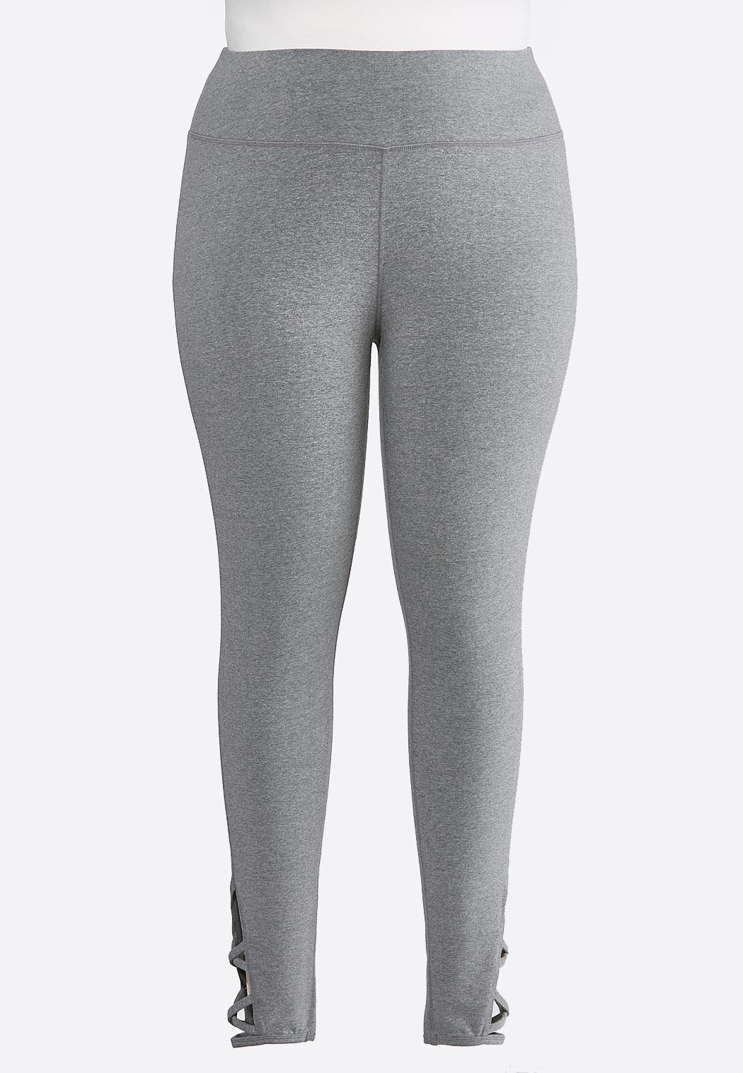 Plus Size Cutout Lattice Cropped Leggings