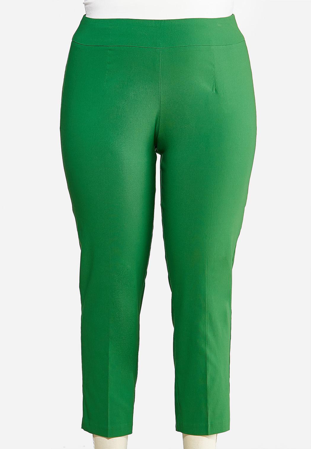 Plus Size Solid Bengaline Ankle Pants
