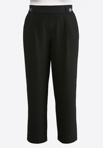 Plus Size Button Front Trouser Pants