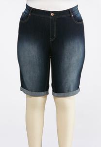 Plus Size Curvy Shape Enhancing Denim Shorts