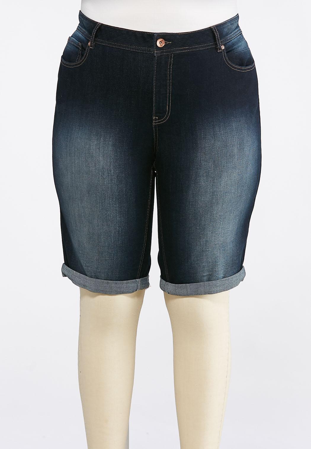 4755510fd0f1b Plus Size Shape Enhancing Denim Shorts