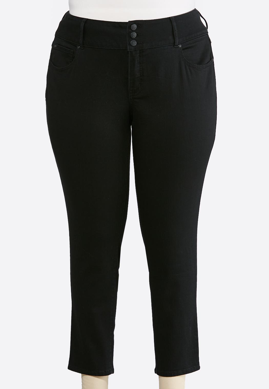 Plus Size Black Shape Enhancing Ankle Jeans