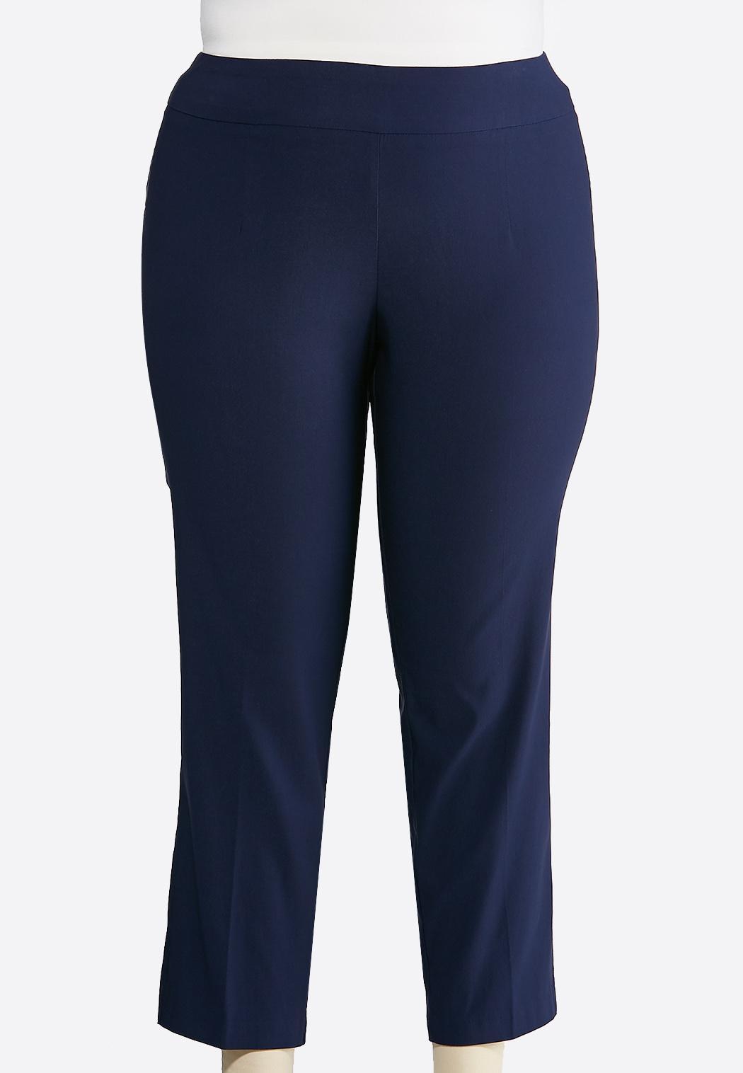 Plus Petite Solid Bengaline Ankle Pants